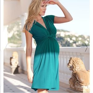 Seraphine knotted front emerald dress